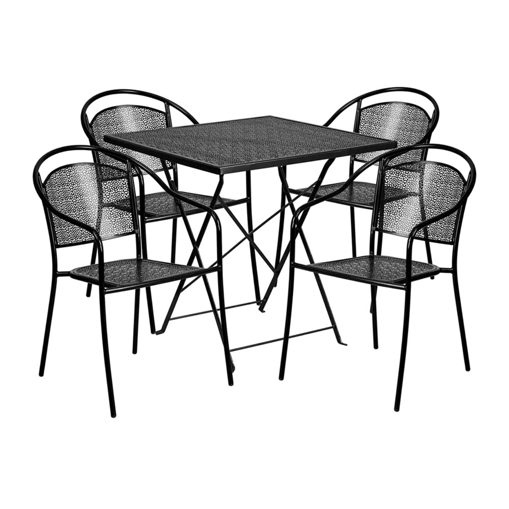 """28"""" Square Black Indoor-Outdoor Steel Folding Patio Table Set with 4 Round Back Chairs"""