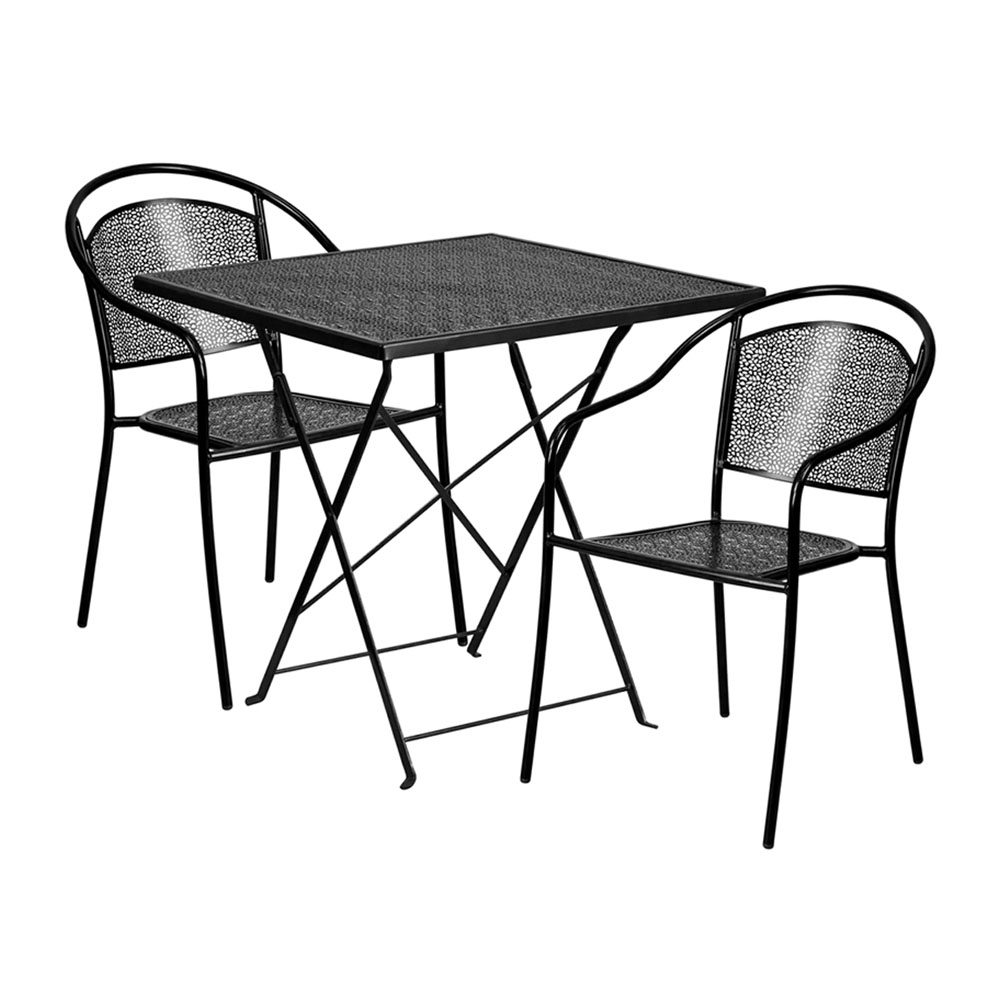 "28"" Square Black Indoor-Outdoor Steel Folding Patio Table Set with 2 Round Back Chairs"
