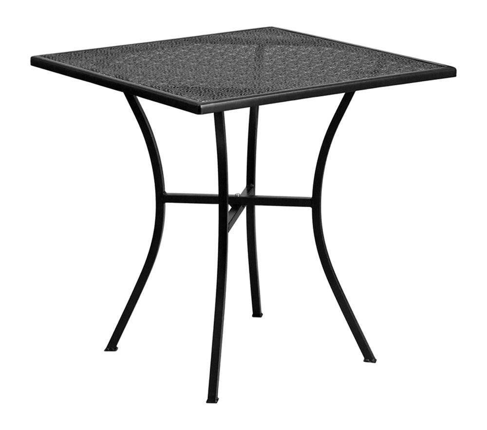 "28"" Square Black Indoor-Outdoor Steel Patio Table"