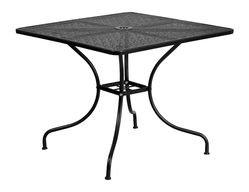 "35.5"" Square Black Indoor-Outdoor Steel Patio Table"