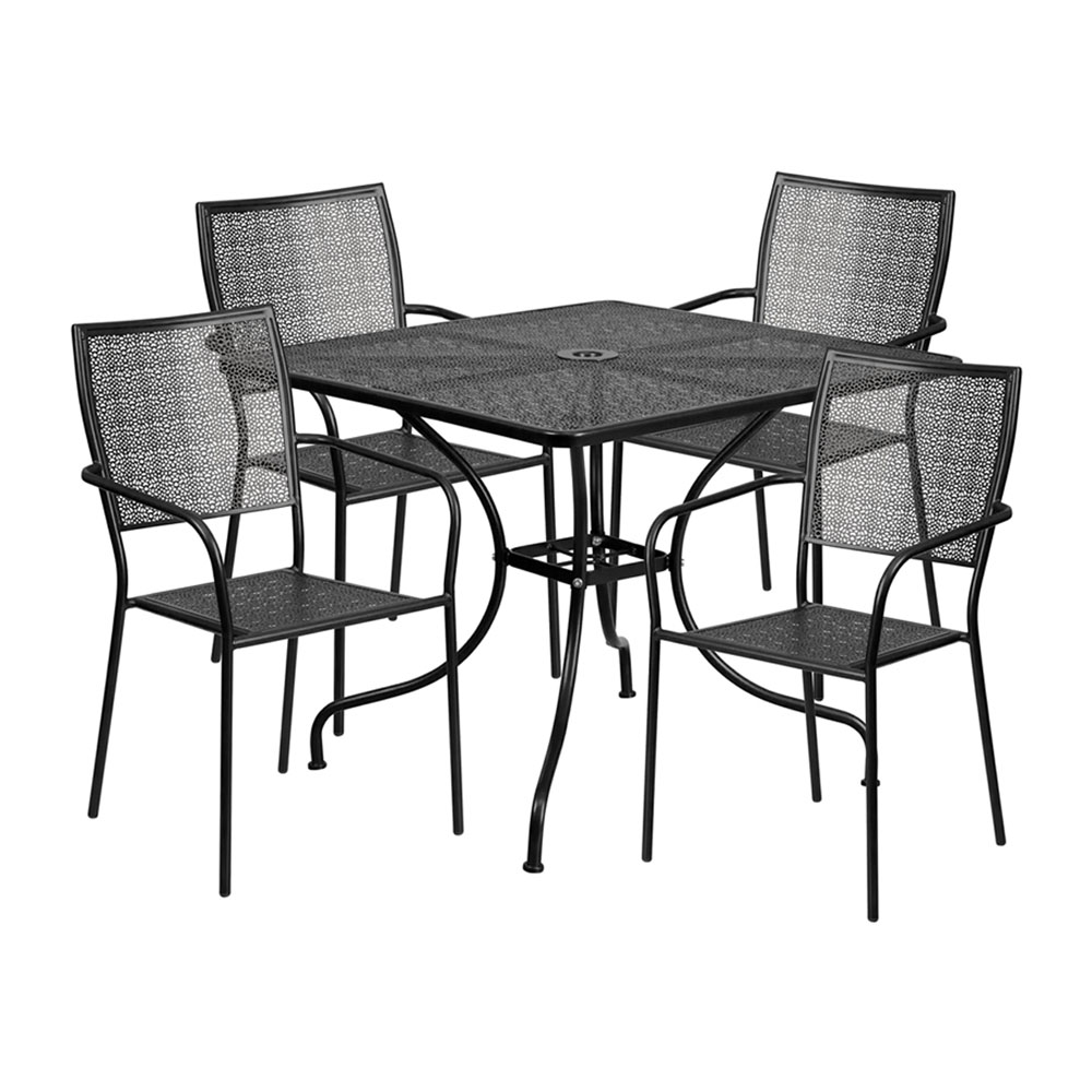 "35.5"" Square Black Indoor-Outdoor Steel Patio Table Set with 4 Square Back Chairs"