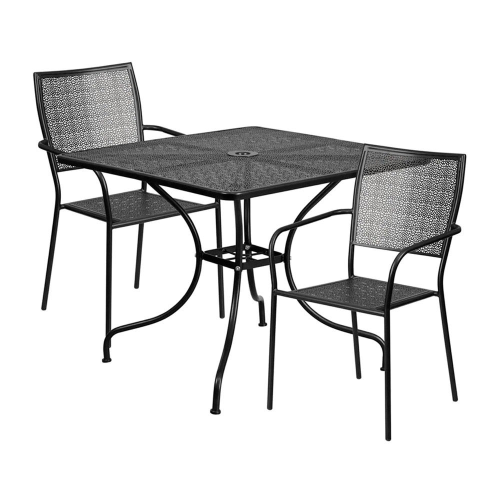 "35.5"" Square Black Indoor-Outdoor Steel Patio Table Set with 2 Square Back Chairs"