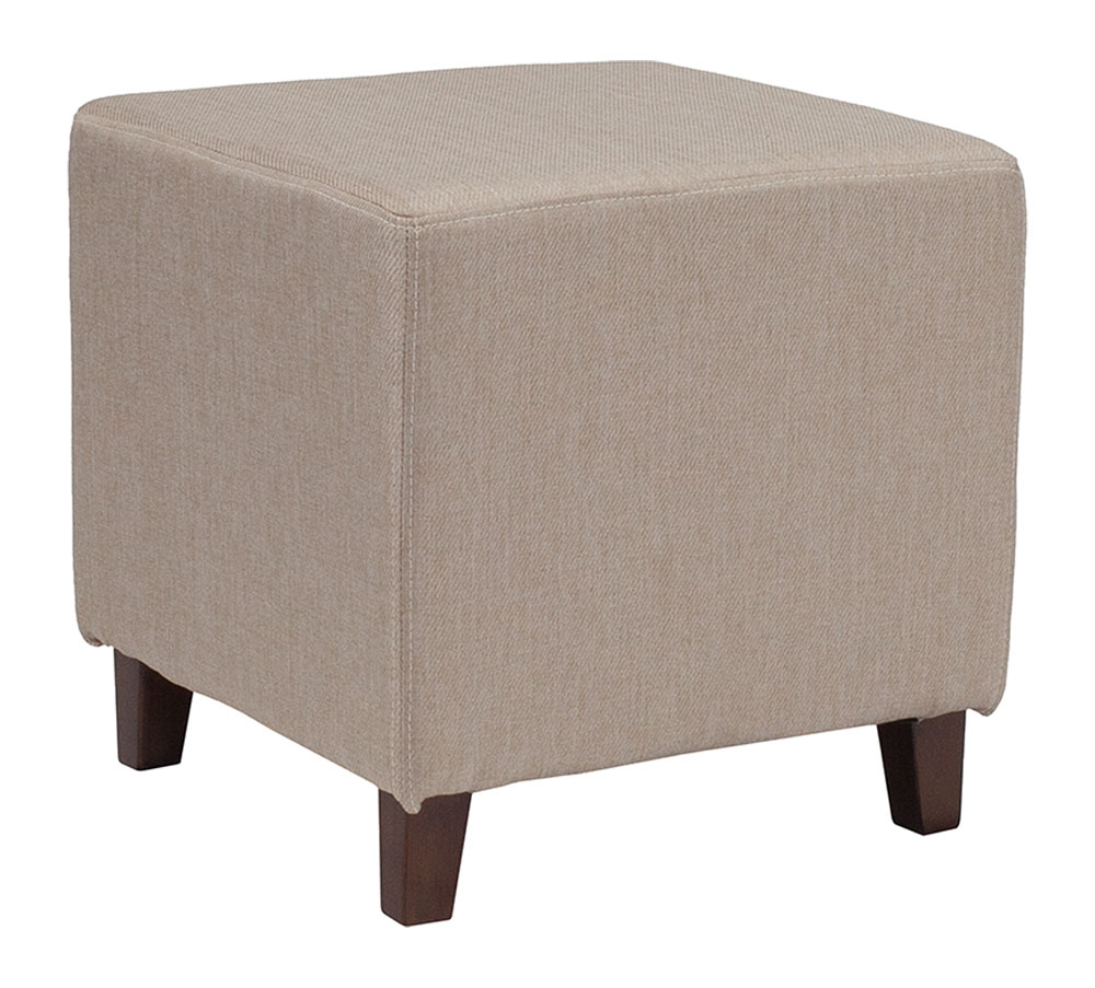 Ascalon Upholstered Ottoman Pouf in Beige Fabric