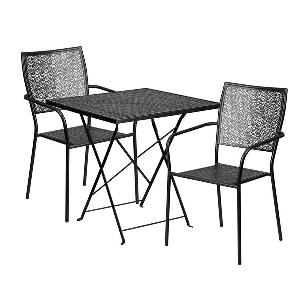 "28"" Square Black Indoor-Outdoor Steel Folding Patio Table Set with 2 Square Back Chairs"