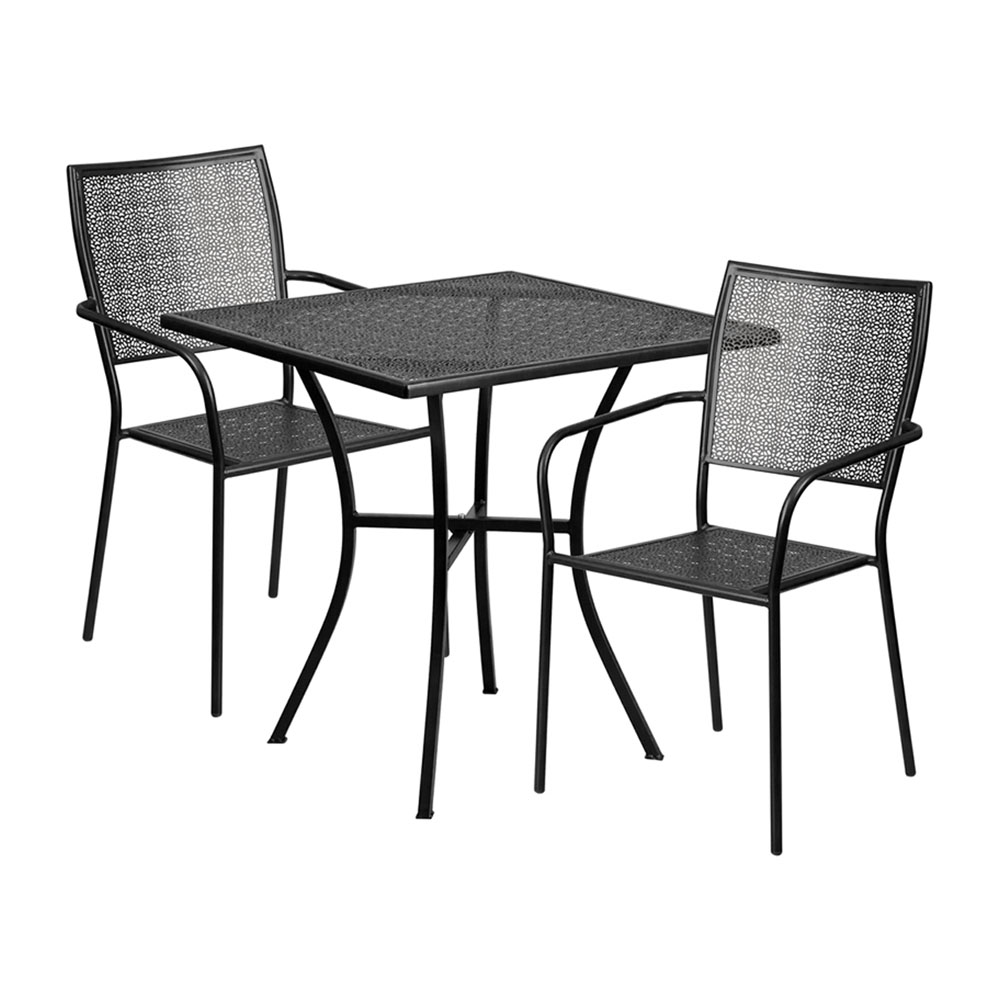 "28"" Square Black Indoor-Outdoor Steel Patio Table Set with 2 Square Back Chairs"