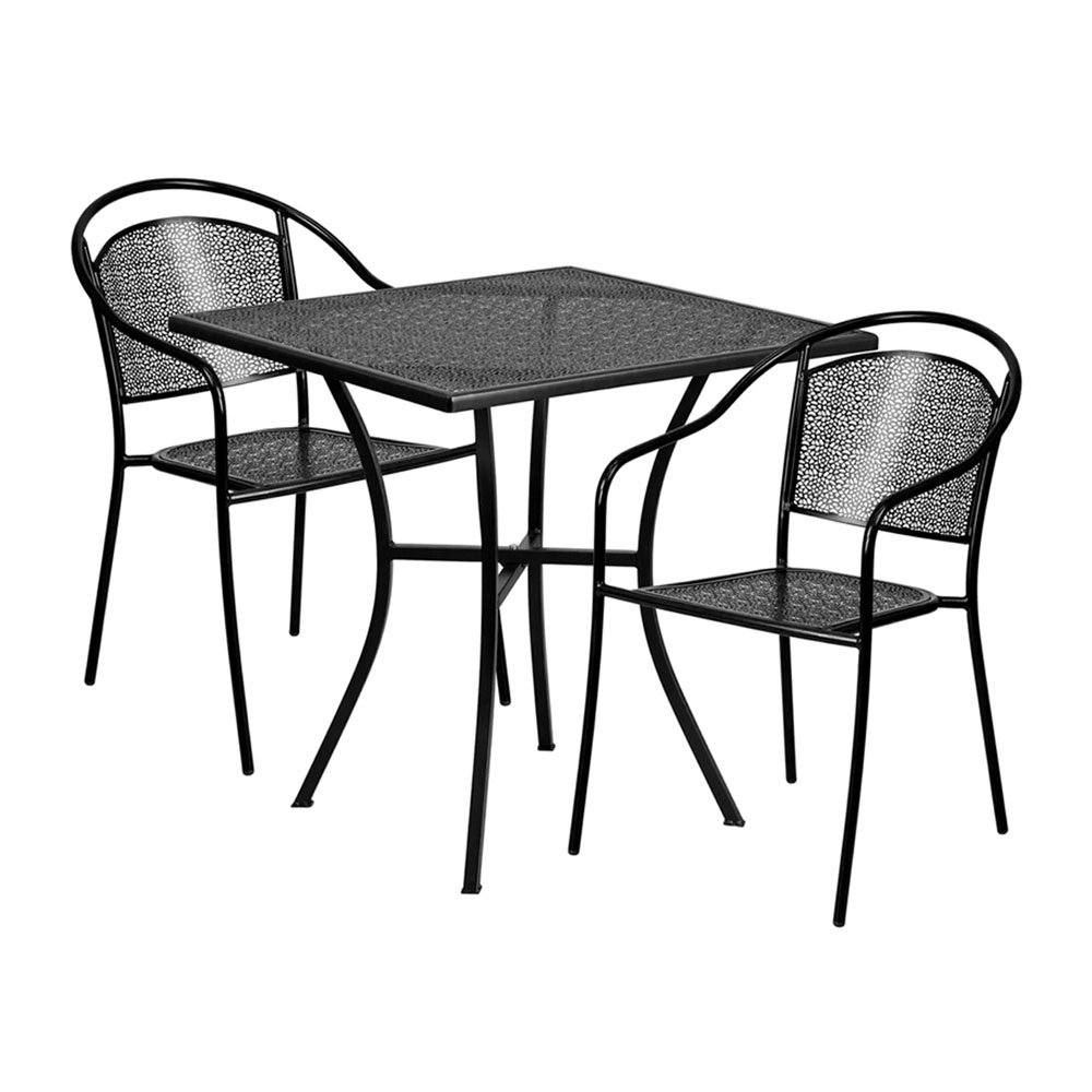 "28"" Square Black Indoor-Outdoor Steel Patio Table Set with 2 Round Back Chairs"