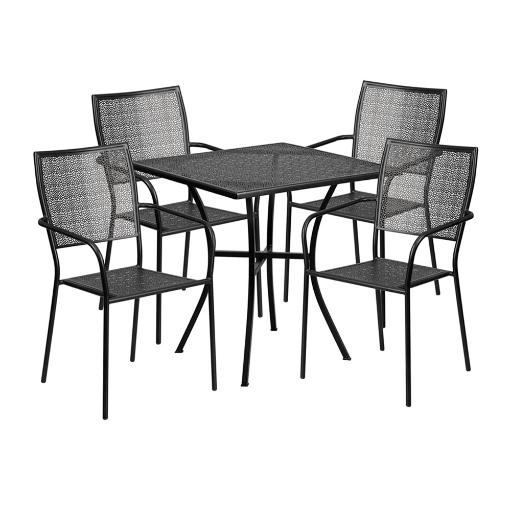 "28"" Square Black Indoor-Outdoor Steel Patio Table Set with 4 Square Back Chairs"