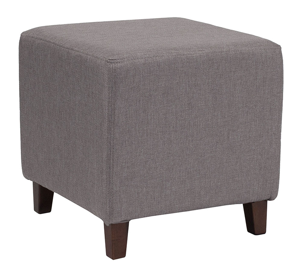 Ascalon Upholstered Ottoman Pouf in Light Gray Fabric