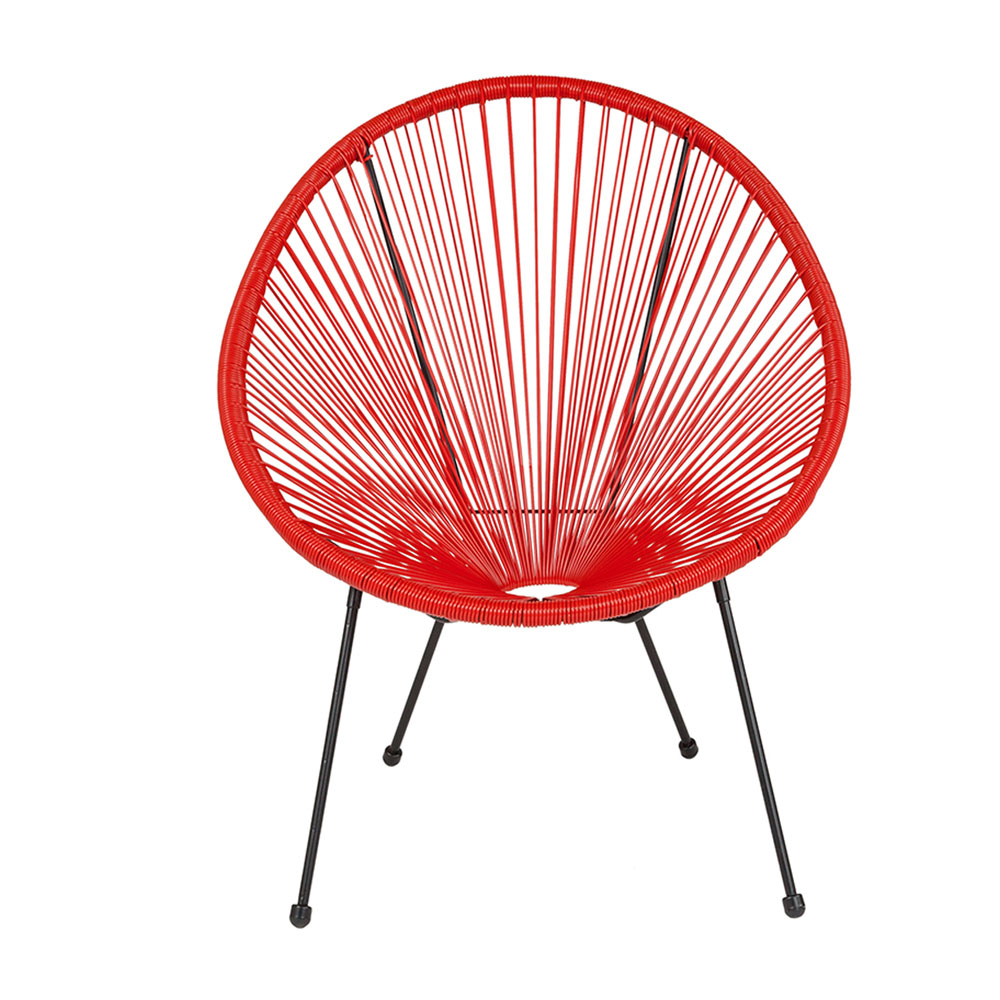 Flash Furniture Valencia Oval Comfort Series Take Ten Red Rattan Lounge Chair