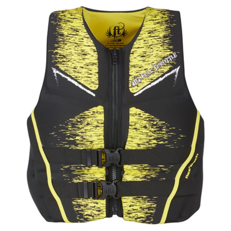 Full Throttle Mens Life Jacket Rapid-Dry Flex-Back-Yellow-2X