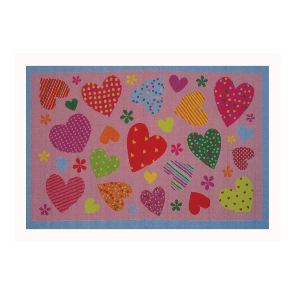 "Fun Rugs Fun Time Collection Home Kids Room Decorative Floor Area Rug Hearts-Pink -39""X58"""