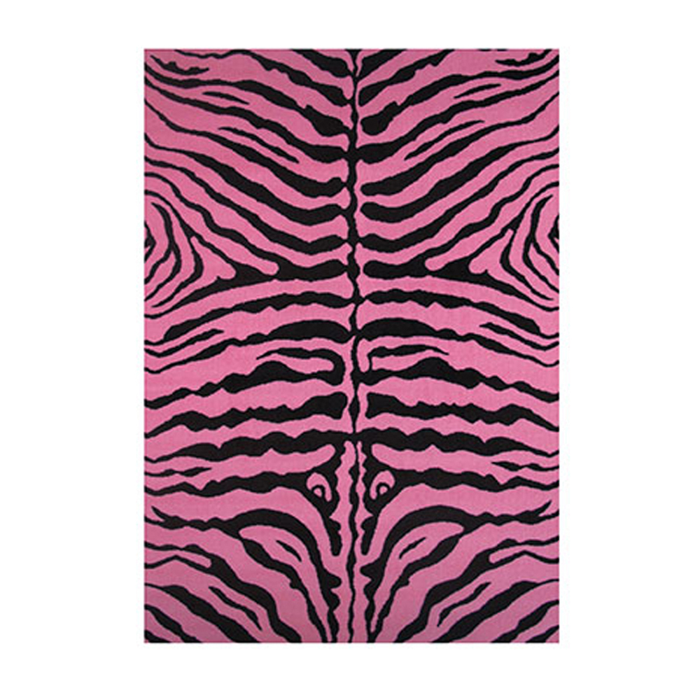 "Fun Time-NEW Kids Home Decorative Area Rug Nylon Zebra Skin-Pink -51"" X 78"""