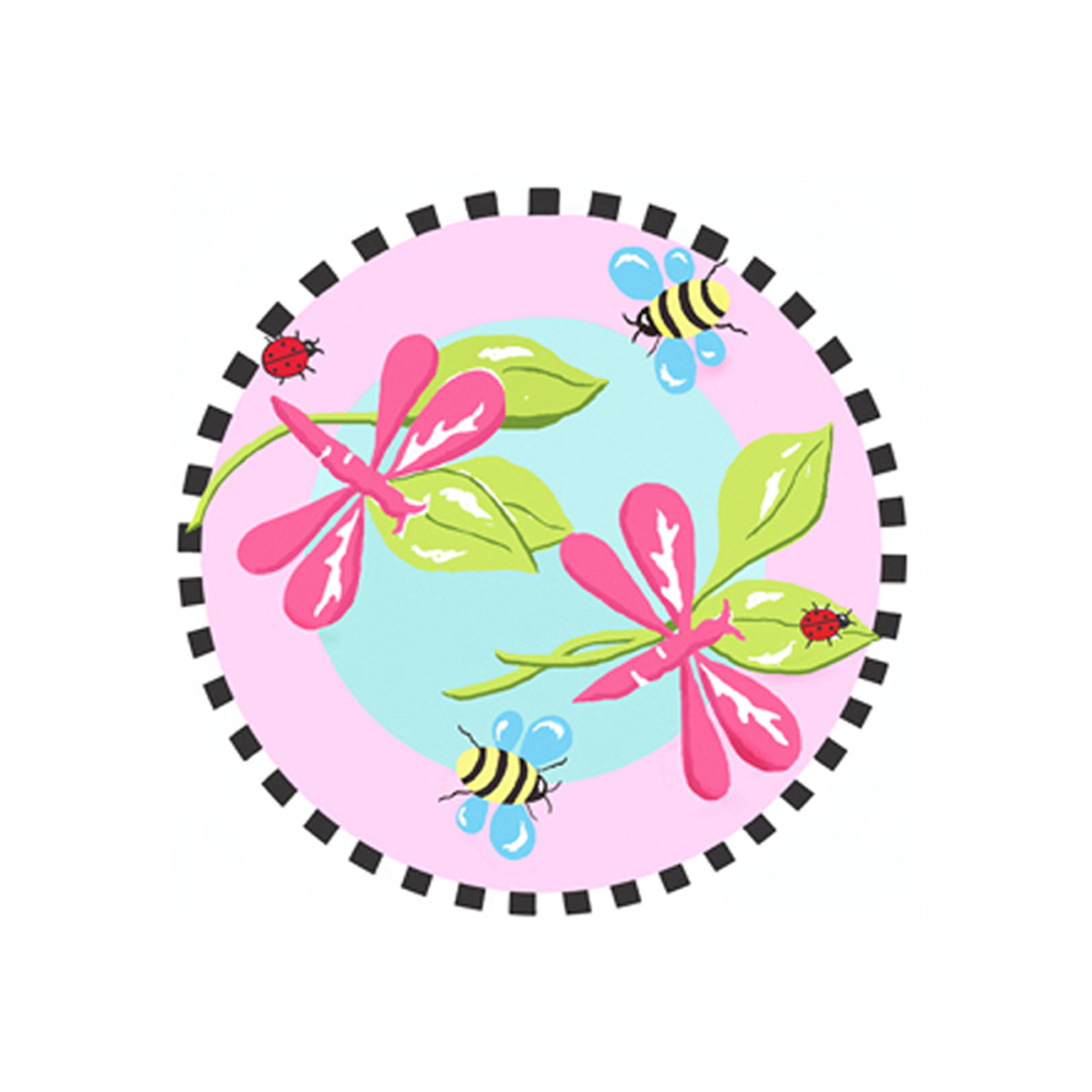 "Fun Rugs Jade Reynolds Pink Dragonfly Home Decorative Accent Area Rug 39"" Round"