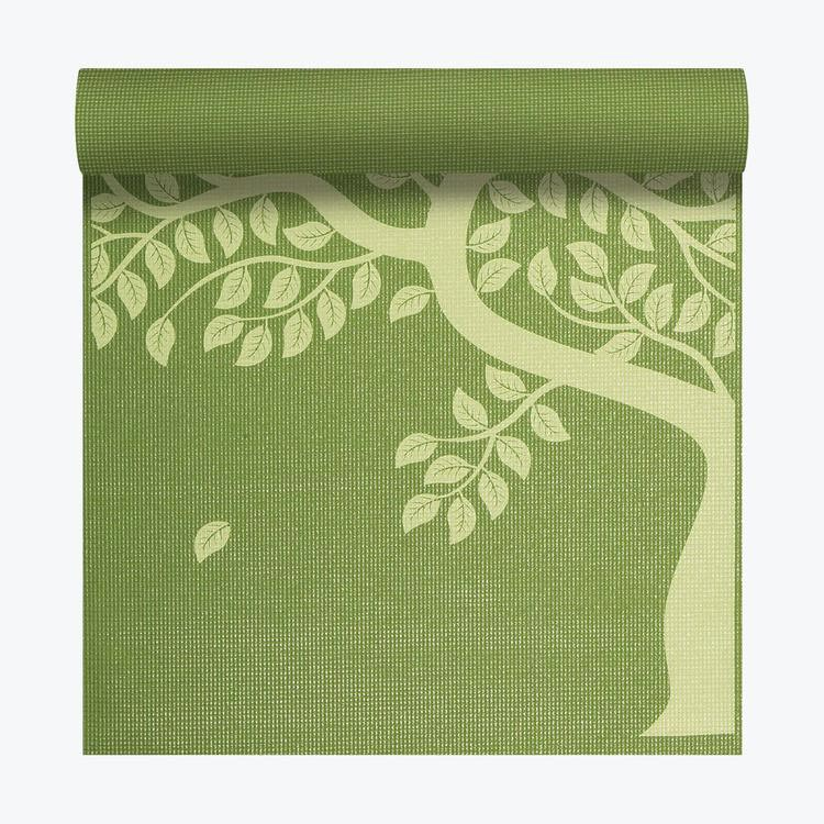 GAIAM TREE OF LIFE YOGA MAT 6P FREE 3MM APPLE GREEN