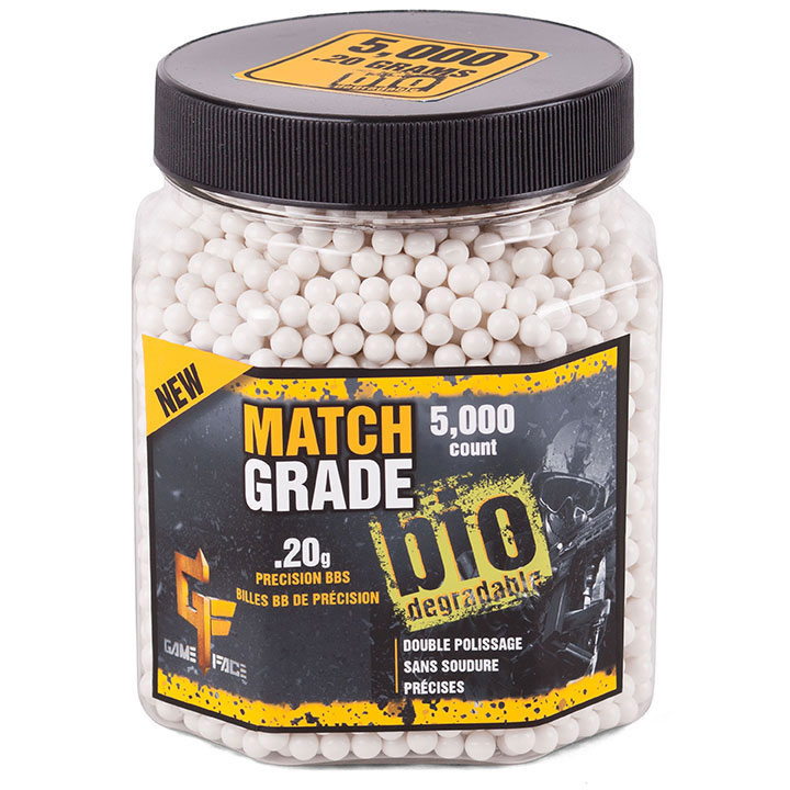 Game Face Match Grade (white)Biodegradable ammo - 6mm .20 gram 5000 count