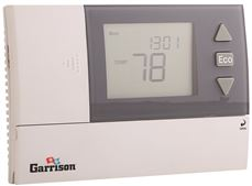 GARRISON 7-DAY/5+2 DAY PROGRAMMABLE DIGITAL THERMOSTAT, 2 HEAT / 1 COOL, 24 VAC & BATTERY POWERED, 2.6 IN.