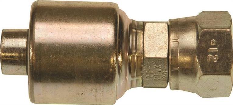MegaCrimp G25 Hydraulic Hose Coupling, 3/4 in, Female JIC 37 deg Flare Swivel, Low Carbon Steel