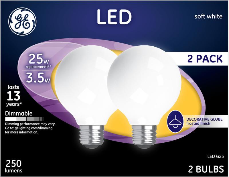 31228 2PK LED G25 WH BULB