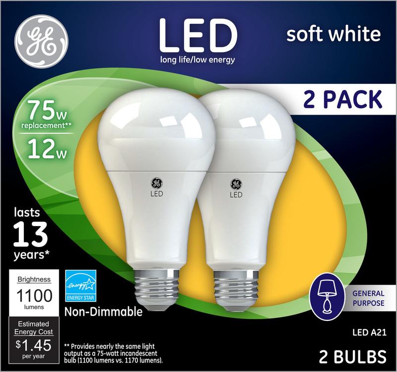 65762 2PK 75W LED SW ND BULB