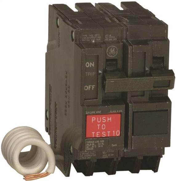 GE THQL2130GFTP Ground Fault Circuit Breakers, Double Pole ? Self Test, 30 Amp