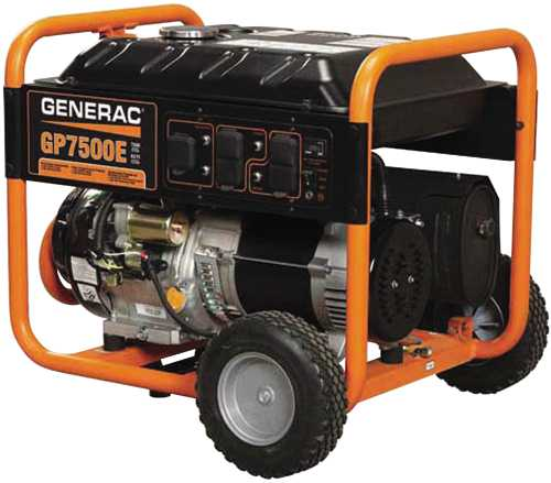 GENERAC GP7500E/7500W PORTABLE GAS POWERED GENERATOR WITH ELECTRIC START