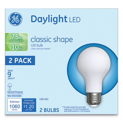 LED Classic Daylight A21 Light Bulb, 10W, 2/Pack