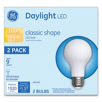 LED Classic Daylight A21 Light Bulb, 13W, 2/Pack