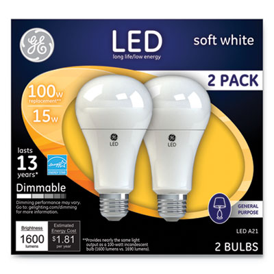 LED Soft White A21 Dimmable Light Bulb, 15W, 2/Pack