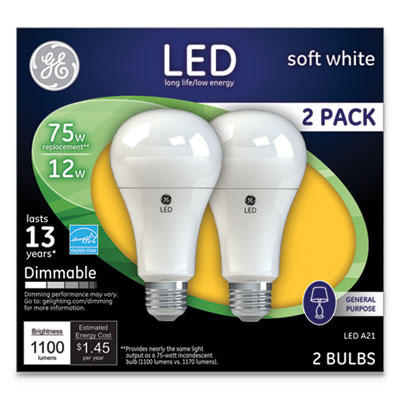 LED Soft White A21 Dimmable Light Bulb, 12W, 2/Pack