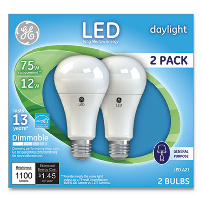 LED Daylight A21 Dimmable Light Bulb, 12W, 2/Pack