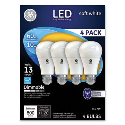 LED Soft White A19 Dimmable Light Bulb, 10W, 4/Pack