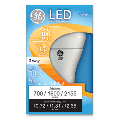 LED Daylight 3-Way A21 Light Bulb, 11W