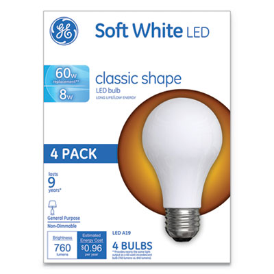 Classic LED Soft White Non-Dim A19 Light Bulb, 8W, 4/Pack