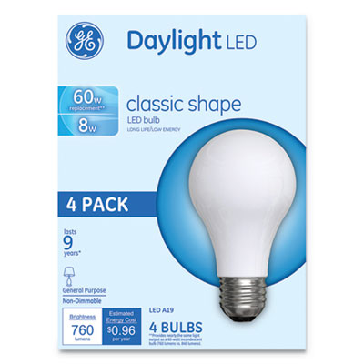 Classic LED Daylight Non-Dim A19 Light Bulb, 8W, 4/Pack