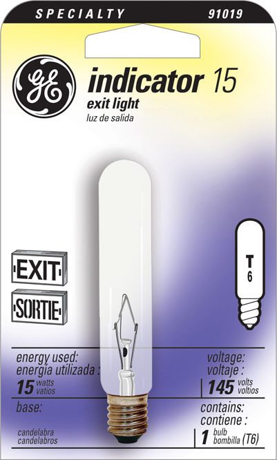T6C 15W EXIT LIGHT15 BULB 1/CD