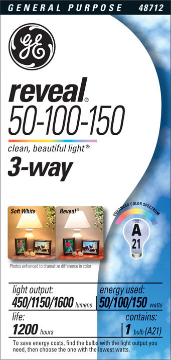 50/150RVL 3-WAY REVEAL BULB