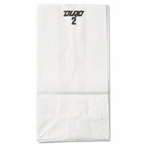 #2 Paper Grocery Bag, 30lb White, Standard 4 5/16 x 2 7/16 x 7 7/8, 500 bags
