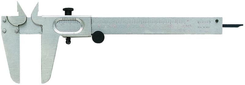 General Tools 722 Vernier Caliper, 1/16 in, Solid Steel