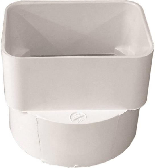Duraspout 45344 Downspout Adapter, 3 X 4 X 4 in, Hub/Spigot, PVC, White