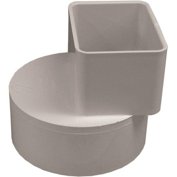 Genova 46234 Offset Downspout Adapter, 2 x 3 x 4 in, Hub/Spigot, Gray
