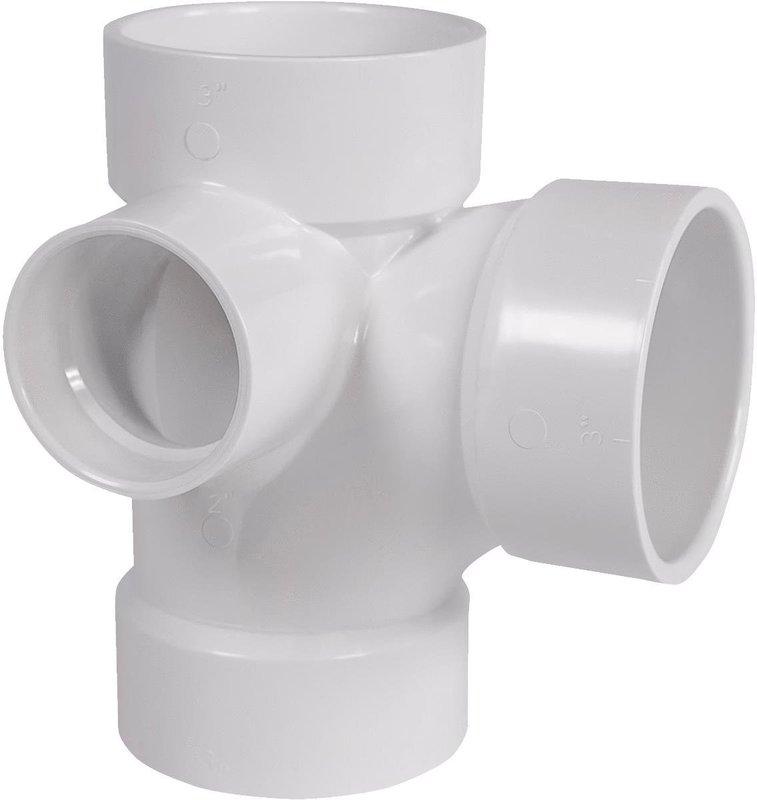 Genova 77132 Left Side Inlet DWV Sanitary Pipe Tee, 3 x 3 x 2 in, Hub, SCH 40, PVC