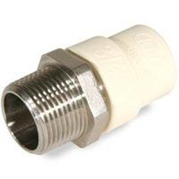 KBI TMS-0750 Pipe to Tube Adapter, 3/4 in, MNPT X CTS, 400 psi, 180 deg F, CPVC/Stainless Steel, Tan