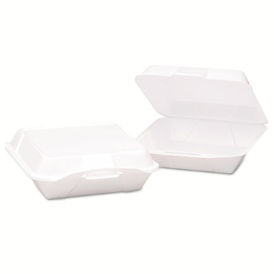 Hinged-Lid Foam Carryout Containers, 9.19x6 1/2x3, White, Vented, 100/Bag, 2/CT