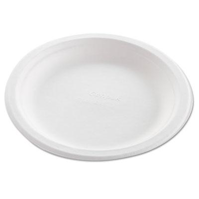 "Harvest Fiber Dinnerware, Plate, 8 3/4"" Diameter, Natural White, 50/Pack, 10/CT"