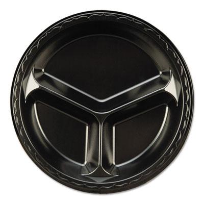 "Elite Laminated Foam 3-Compartment Plate, 10 1/4"" Dia, Black, 125/Pack, 4 PK/CT"