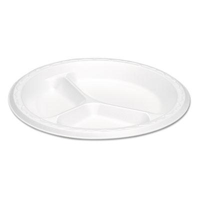 Elite Laminated Foam Plates, 8.88 Inches, White, Round, 3 Comp, 125/PK, 4 PK/CT