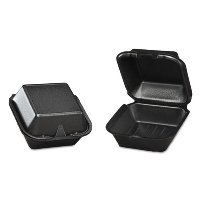 Foam Hinged Carryout Container, 5-13/16x5-11/16x3-1/8, Black, 125/Bag