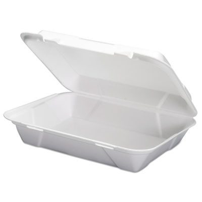 Foam Hoagie Hinged Container, White, 9 3/4 x 3 2/5 x 13,  200/CT, 100/Bag, 2/CT