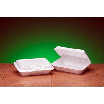 Foam Hinged Carryout Container, Shallow, 9-1/5x6-1/2x2-8/9, White, 100/BG, 2/CT