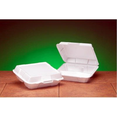 Foam High Volume Hinged Container, 3-Comp, 9x9-1/4x3, White, 100/BG, 2 BG/CT